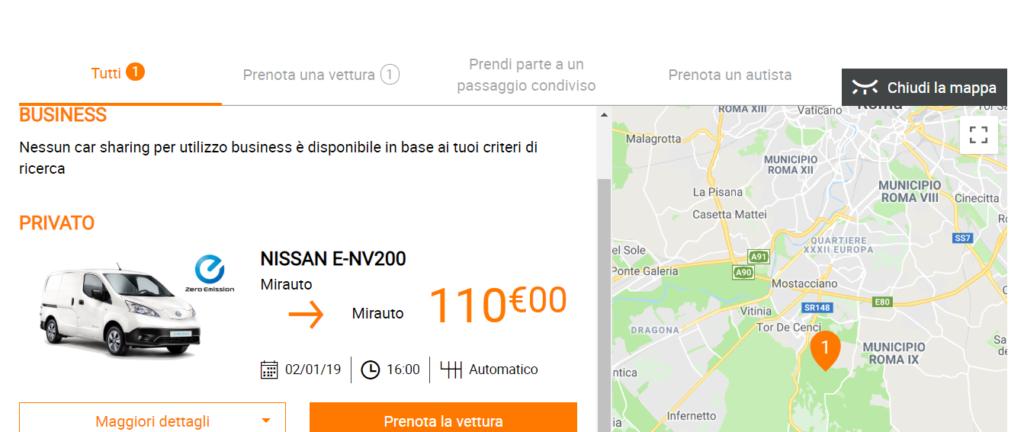 A Roma Nissan Italia propone in condivisione gli E-NV200 mediante l'app Glide